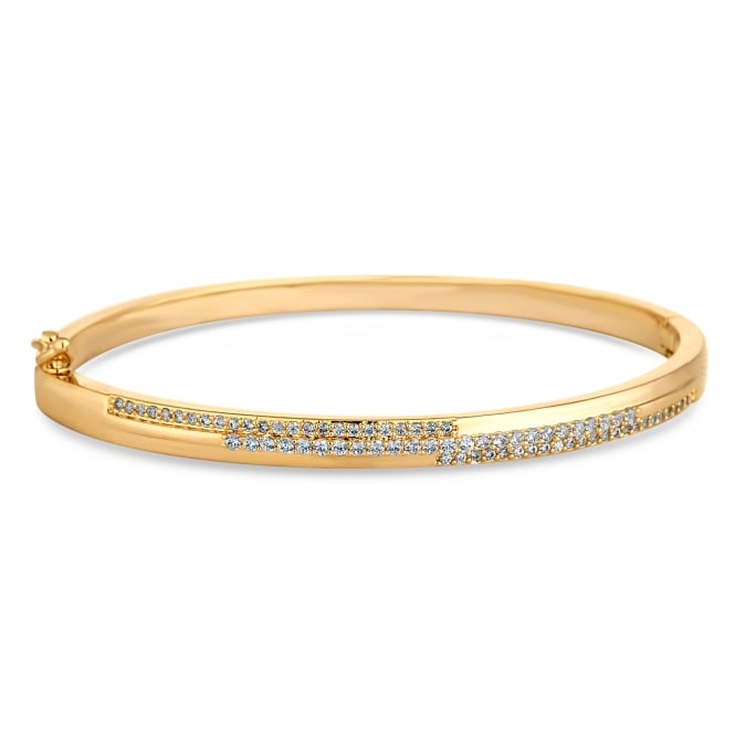 Gold Plated Graduated Cubic Zirconia Bangle