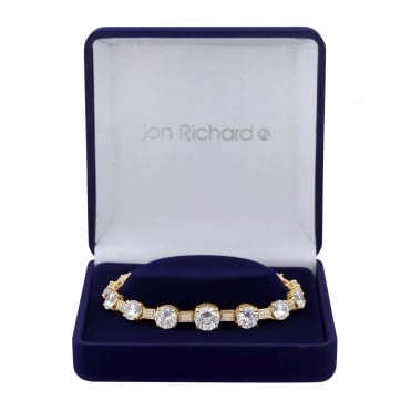 Gold Plated Graduated Cubic Zirconia Bracelet In A Gift Box