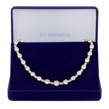 Gold Plated Graduated Cubic Zirconia Necklace In A Gift Box