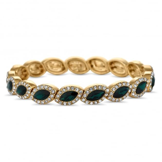 Gold Plated Green Crystal Navette Stretch Bracelet