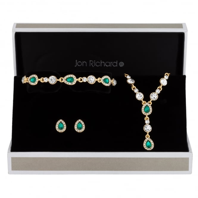 Jon Richard Gold Plated Green Crystal Peardrop Jewellery Set In A Gift Box