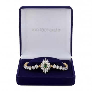 Gold Plated Green Cubic Zirconia Burst Bracelet In A Gift Box