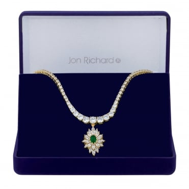Gold Plated Green Cubic Zirconia Burst Drop Necklace In A Gift Box