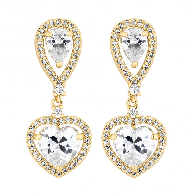 Gold Plated Heart Halo Drop Earring