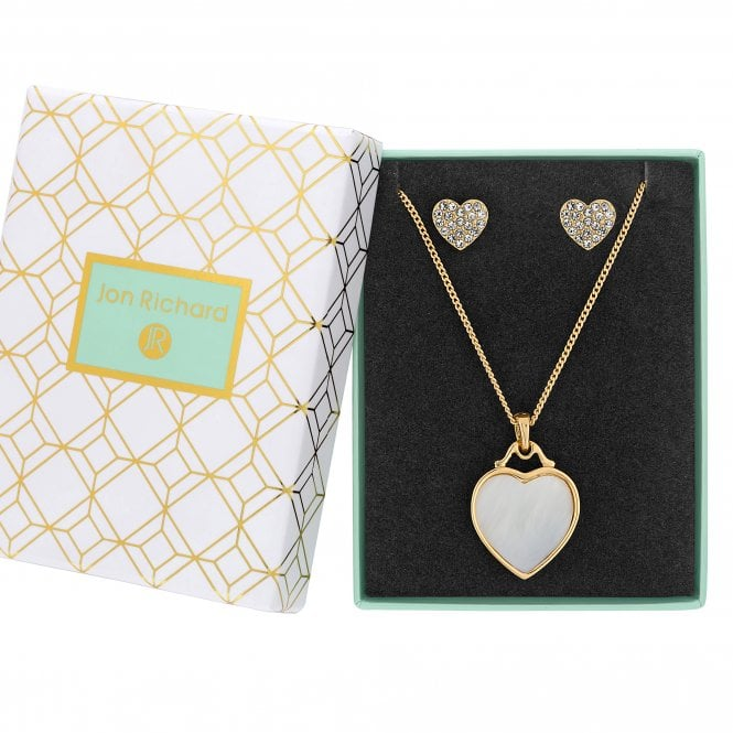 Image of Gold Plated Mother of Pearl Heart Filigree Set - Gift Boxed