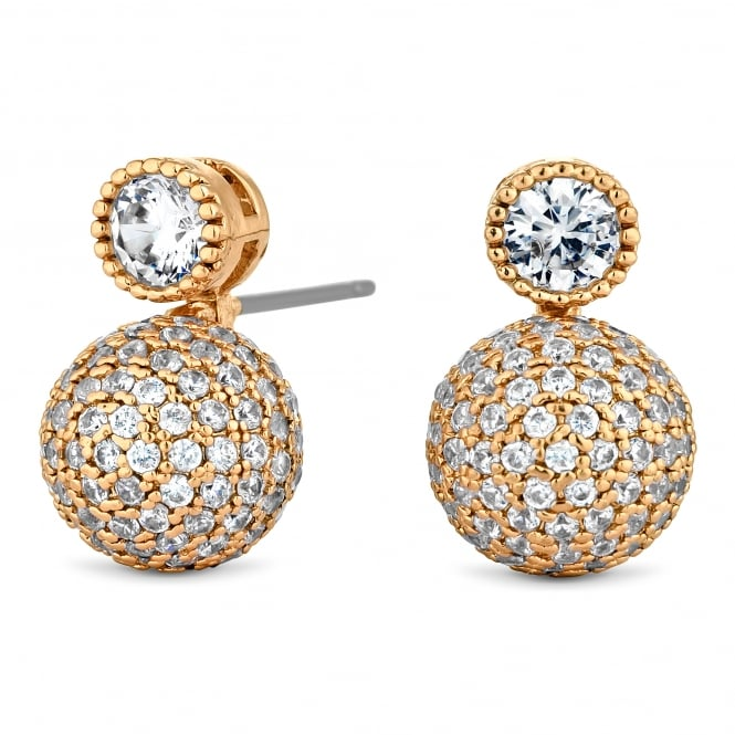Gold Plated Pave Ball Drop Earring