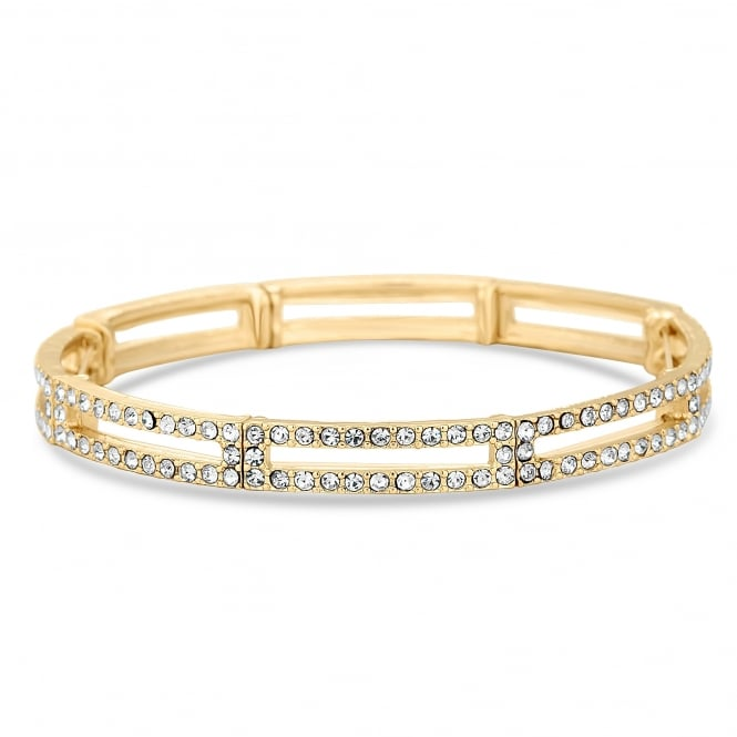 Jon Richard Gold Plated Pave Crystal Link Stretch Bracelet