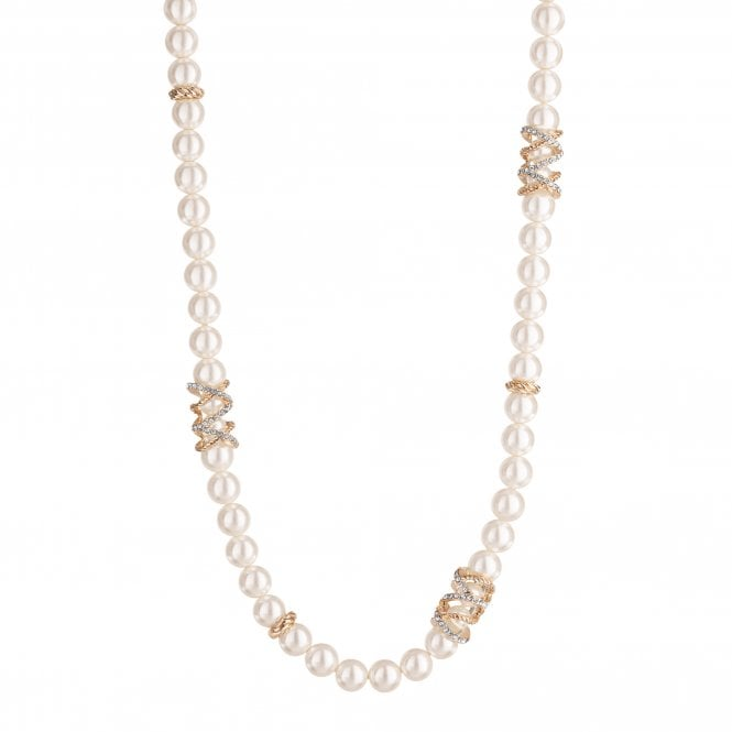 Gold Plated Pave Encased Cream Pearl Necklace