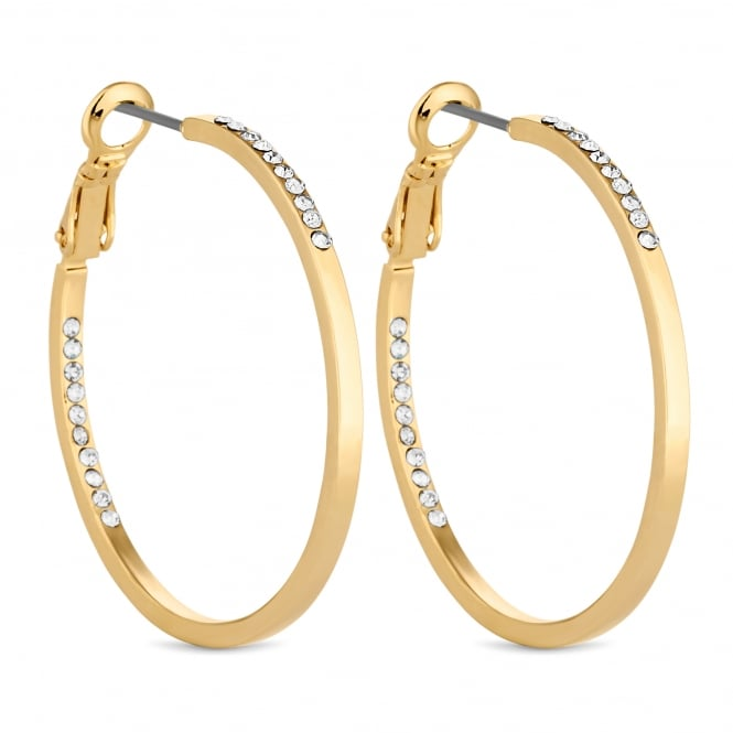 Gold Plated Pave Hoop Earring