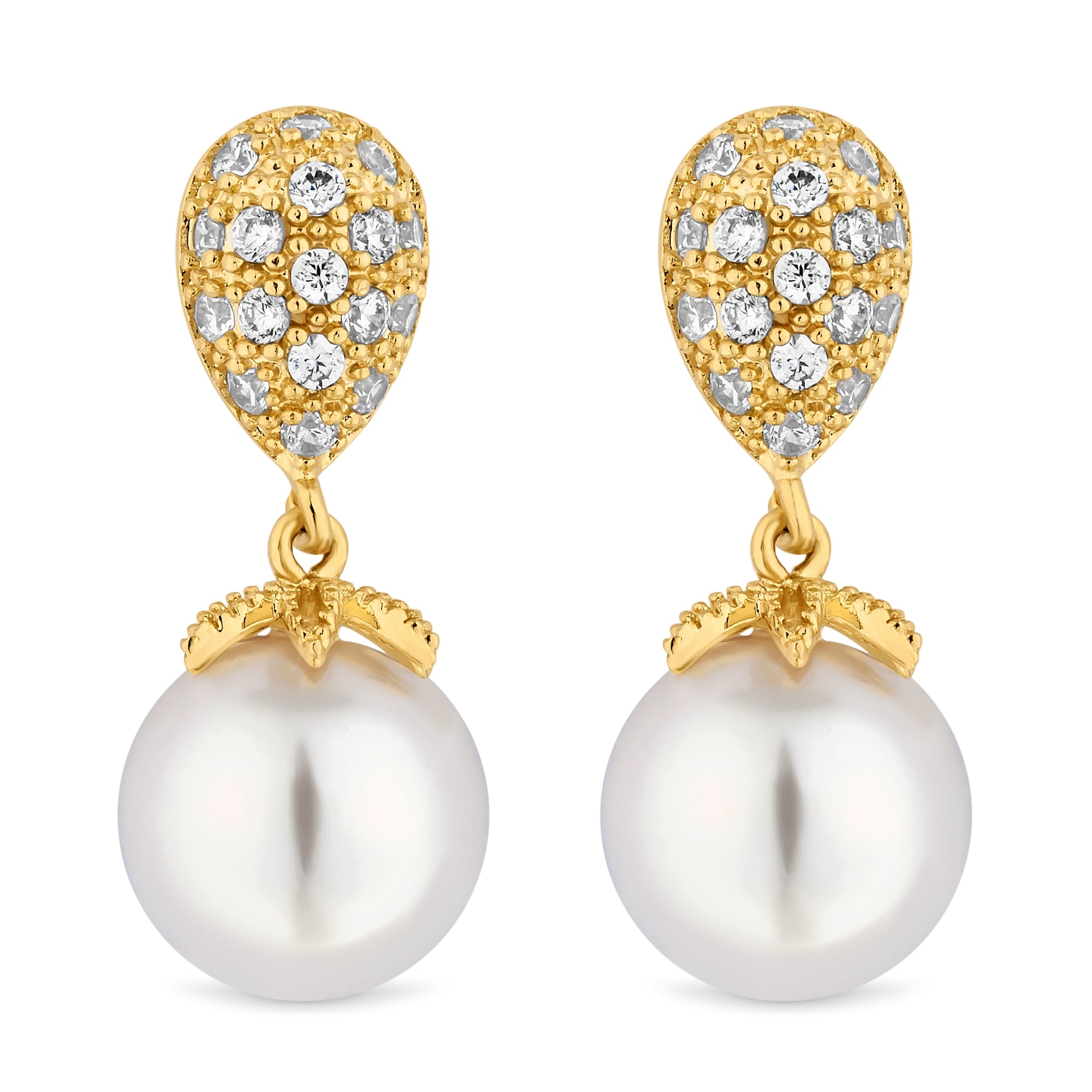 Gold Plated Pave Pearl Drop Earring