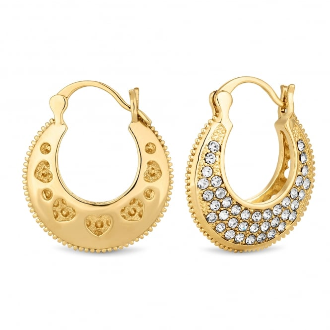 Gold Plated Pave Thick Hoop Earring