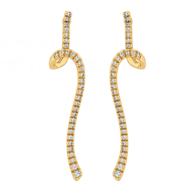 Gold Plated Pave Twist Drop Earring