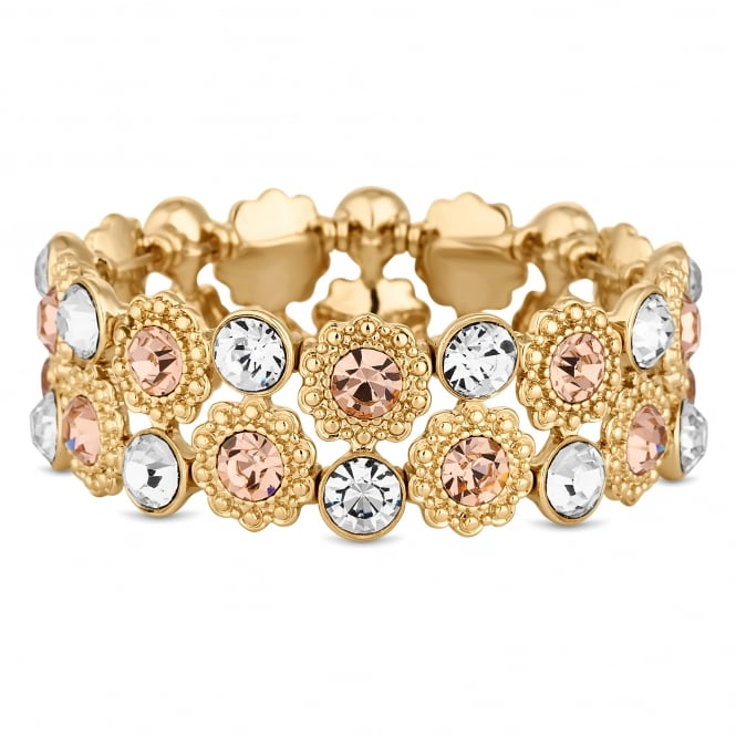 Gold Plated Pink Crystal Floral Stretch Bracelet