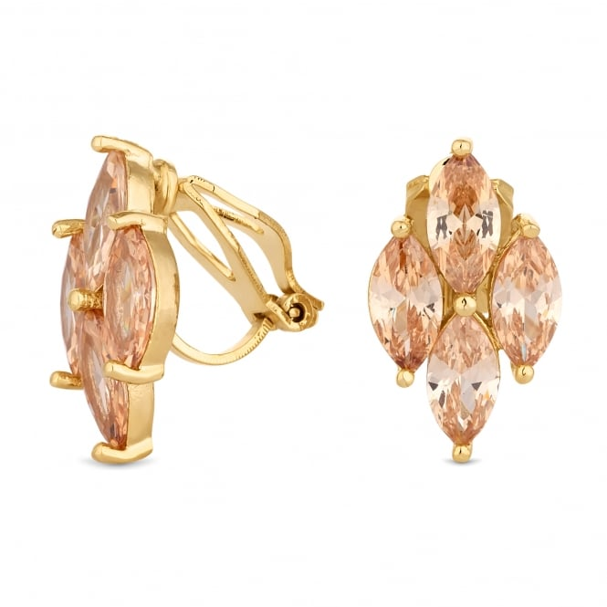Gold Plated Pink Cubic Zirconia Cluster Clip On Earring