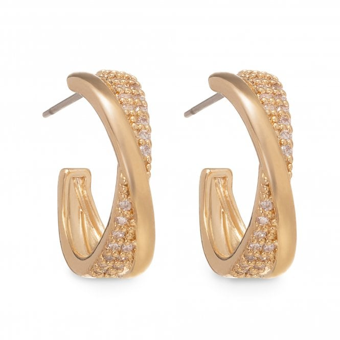 Image of Gold Plated Polished And Pave Cross Over Mini Hoop Earring