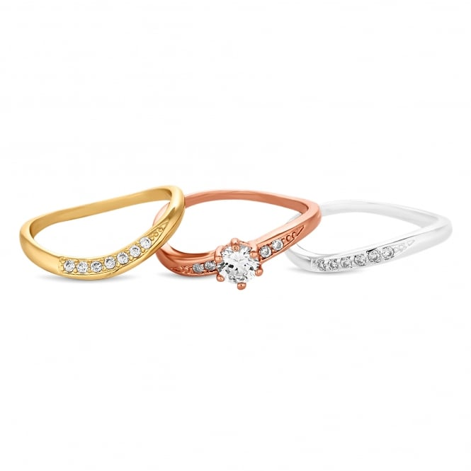 Jon Richard Gold Plated/ Rose Gold Plated/ Silver Plated Cubic Zirconia Stacking Ring Set