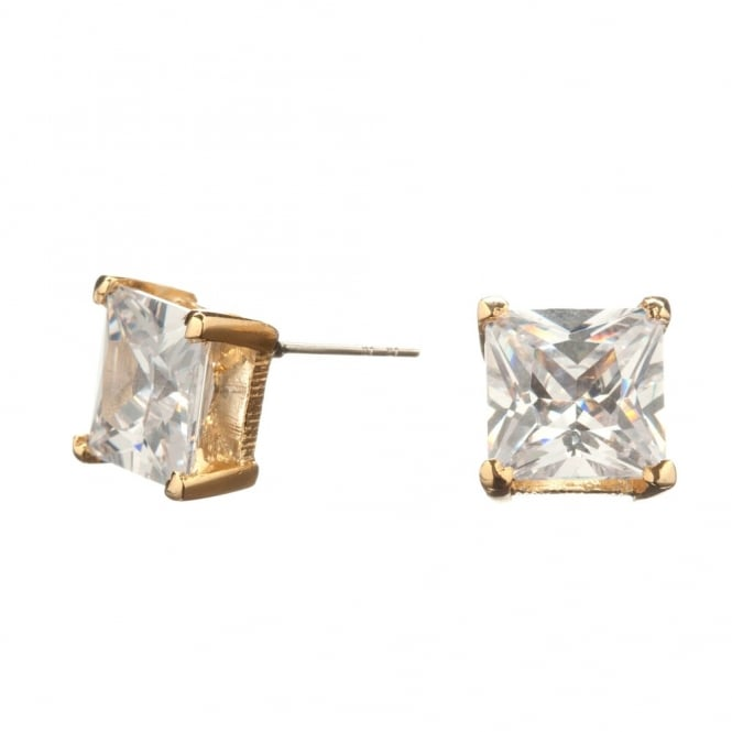 Gold Plated Square 8mm Cubic Zirconia Stud Earring