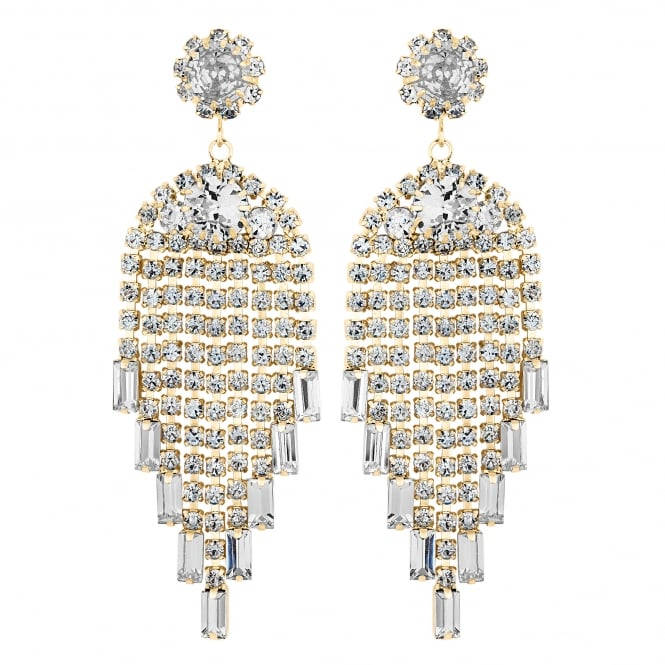 Gold Plated Statement Graduated Crystal Drop Earring