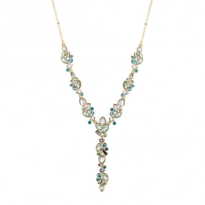 Gold Plated Tonal Blue/ Green Crystal Lariat Necklace