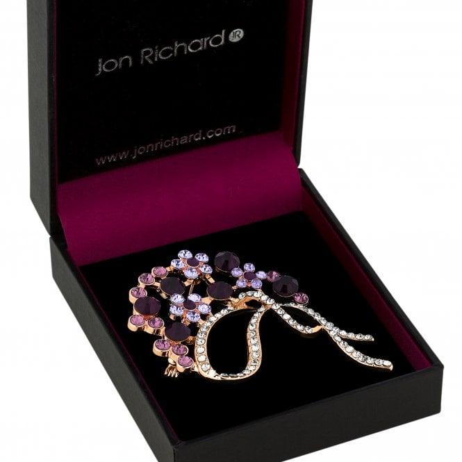 Gold Purple Crystal Bouquet Brooch