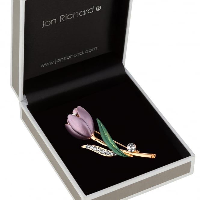 Gold Purple Crystal Tulip Brooch In A Gift Box