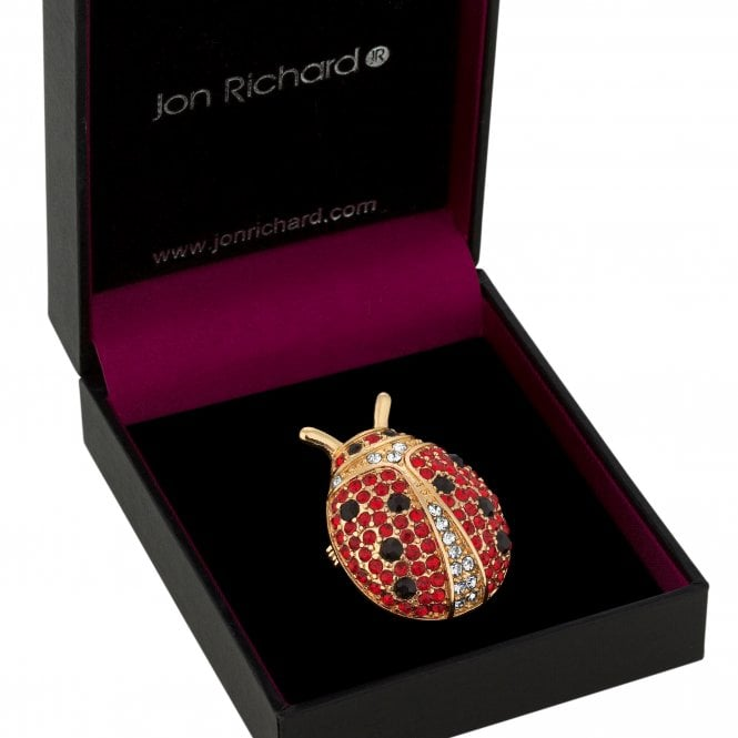 Gold Red Crystal Ladybird Brooch