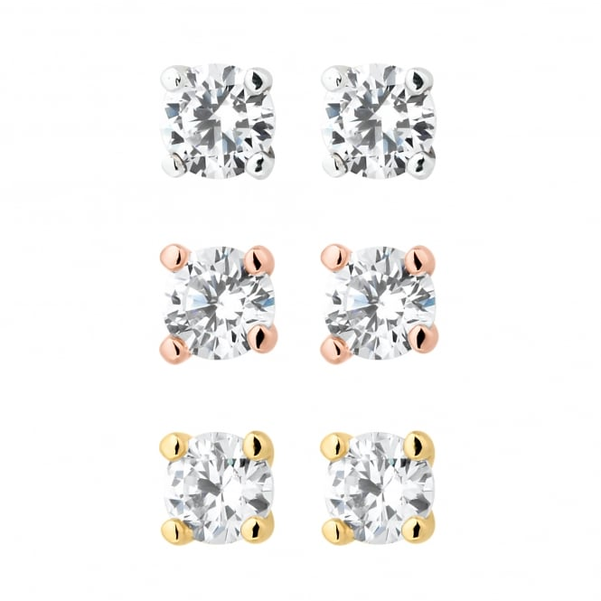 Gold/ Silver/ Rose Gold Plated Cubic Zirconia Stud Earring - Pack of 3