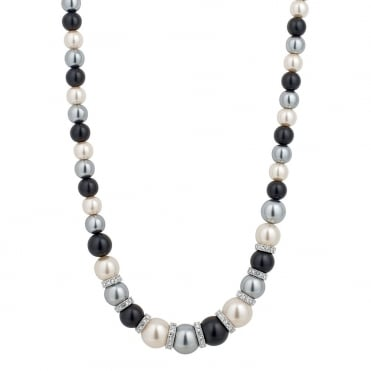 Graduated triple tone pearl and crystal silver disc necklace