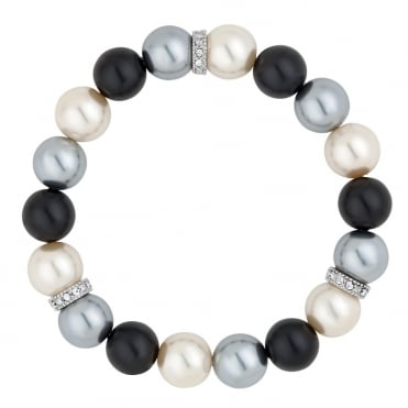 Graduated triple tone pearl and crystal silver disc stretch bracelet