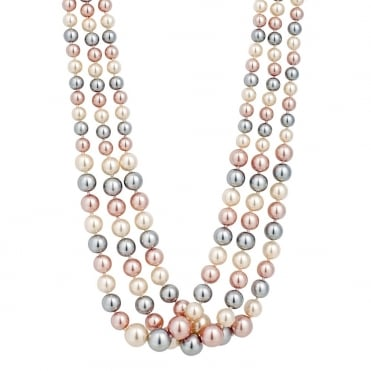 Graduated triple tone three row pink pearl necklace