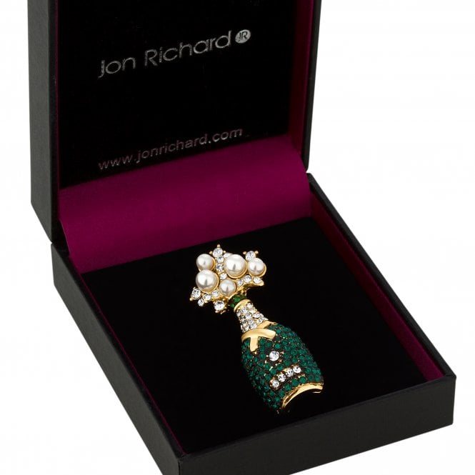 Green Crystal Champagne Bottle Brooch