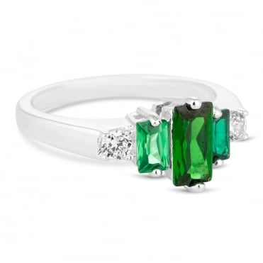 Green cubic zirconia baguette ring