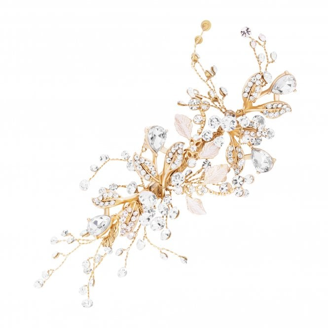 Image of Harmony Gold Leaf And Crystal Sprig Clip