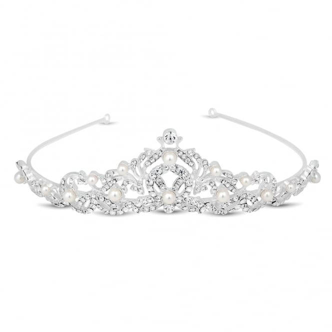 Isabella crystal and pearl flower tiara
