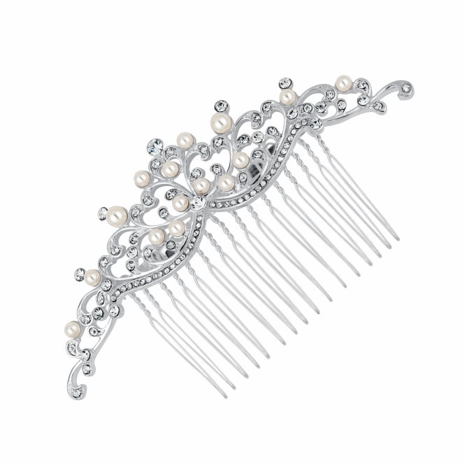 Isabella pearl and crystal hair comb