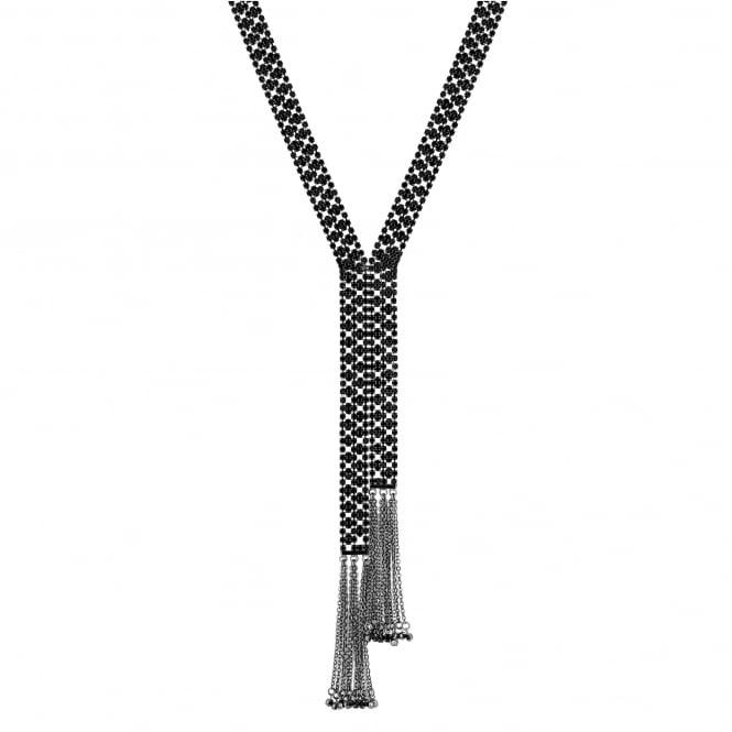 Jet beaded tassel necklace