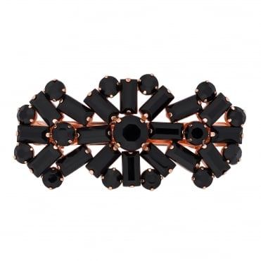 Jet crystal statement hair clip