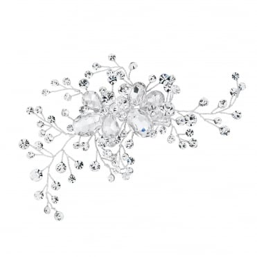 Large oval crystal stone spray hair clip