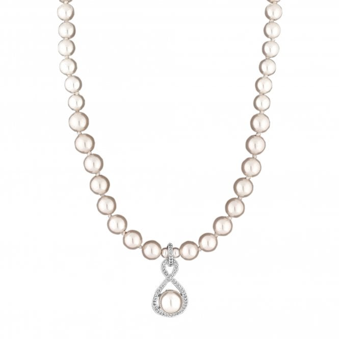 Image of Light Pink Infinity Pearl Necklace