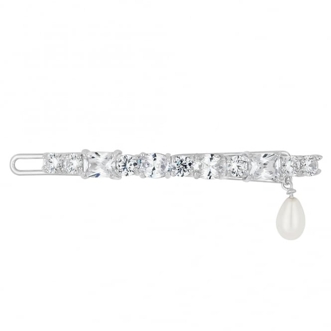 Lily cubic zirconia pearl drop hair slide