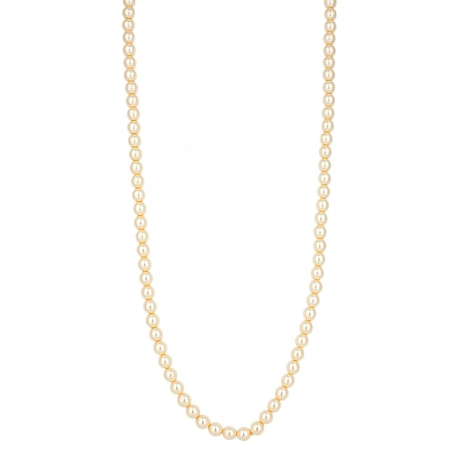 Long cream pearl chain necklace