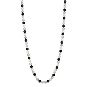 Long triple tone jet pearl chain necklace