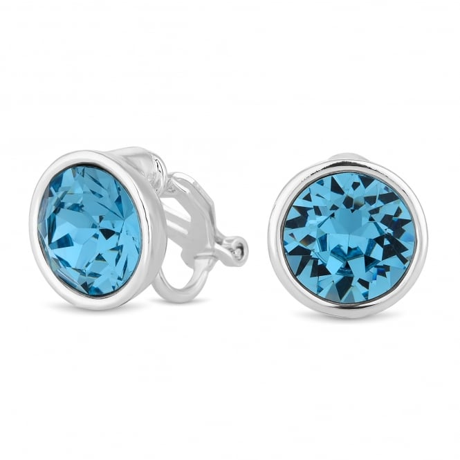 Jon Richard made with Swarovski® crystals Silver Blue Aquamarine Clip On Earring Embellished With Swarovski® Crystals