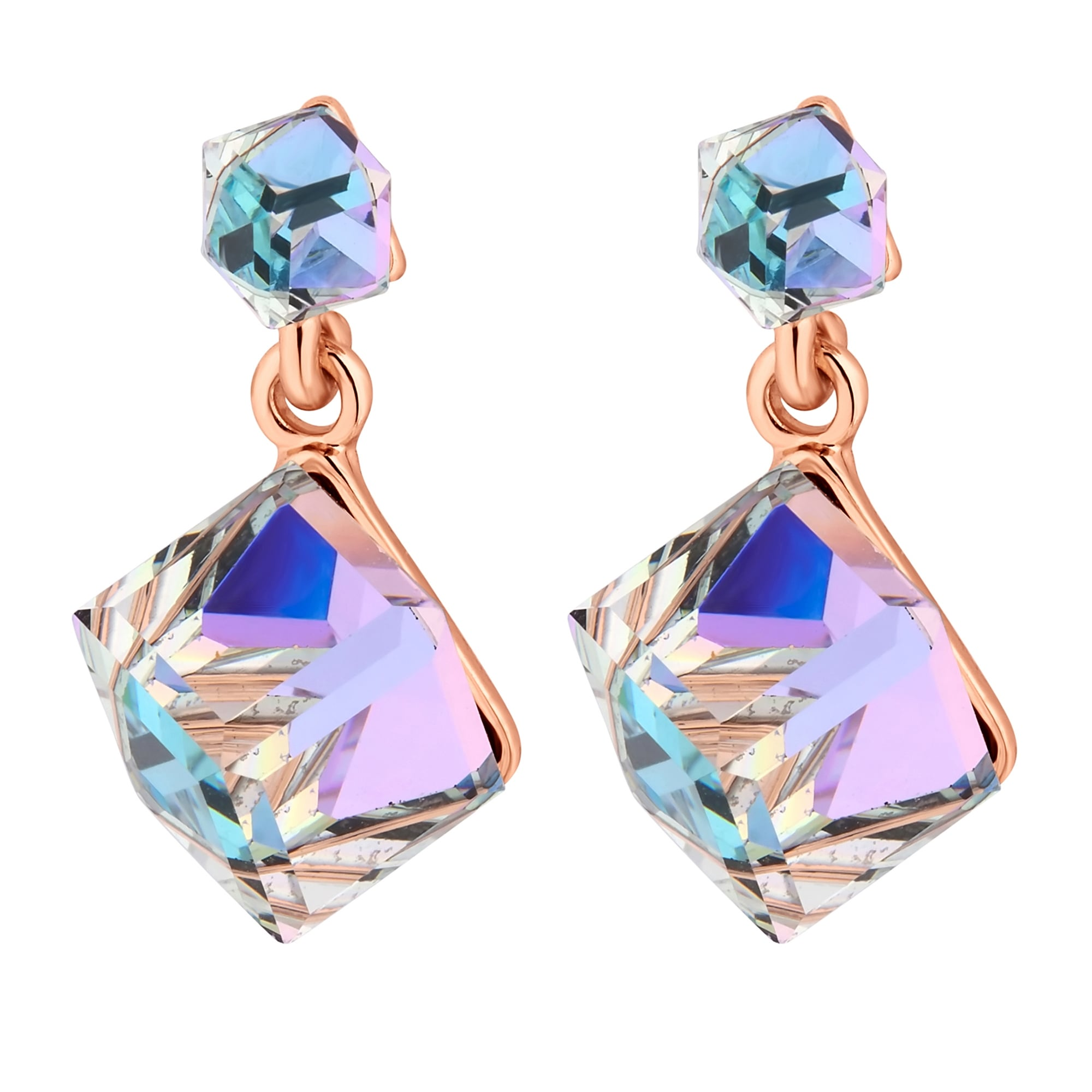 Rose Gold Aurora Cube Earring Embellished With Swarovski Crystals