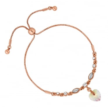 Rose Gold Aurora Heart Toggle Bracelet Embellished With Swarovski® Crystals