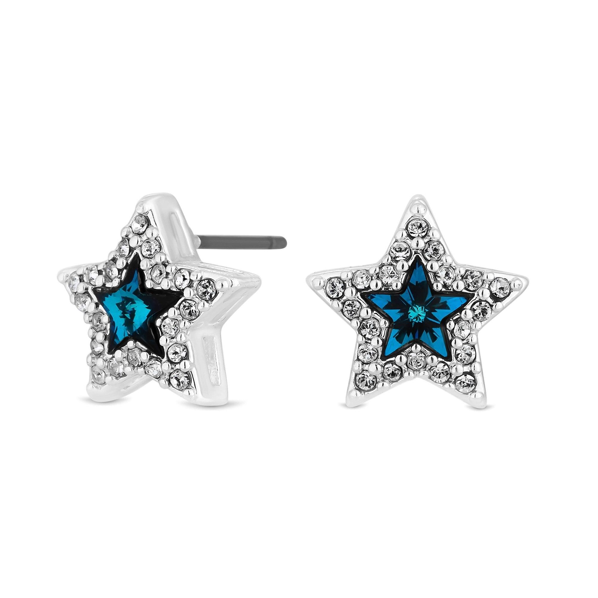 Bermuda Blue Star Stud Earrings Made With Swarovski Crystals
