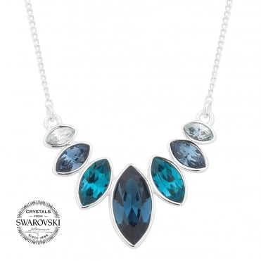 Blue graduated crystal necklace MADE WITH SWAROVSKI CRYSTALS