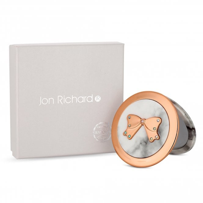 Cream Marble Bow Compact Mirror Embellished With Swarovski Crystals