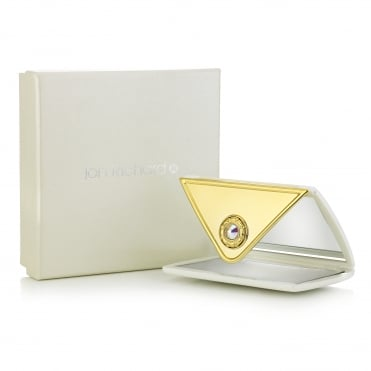 Ivory and Gold Envelope Shaped Compact Mirror Embellished With Swarovski® Crystals
