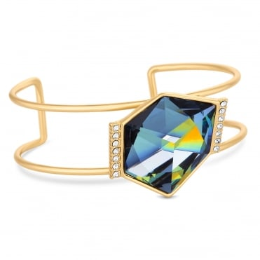 Gold Blue Faceted Crystal Large Cuff Bangle Embellished With Swarovski® Crystals